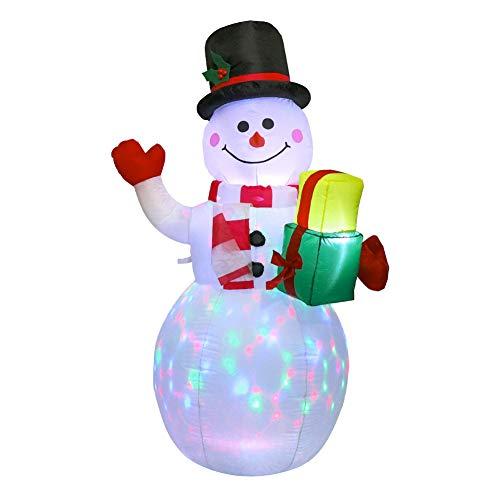 SUREH Aufblasbarer Schneemann mit LED-Lichtern, 152 cm