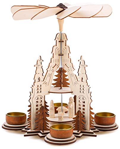 Brubaker Weihnachtspyramide Kathedrale 29 cm - Maria, Josef und Jesus - 2 Etagen - Teelichtpyramide...