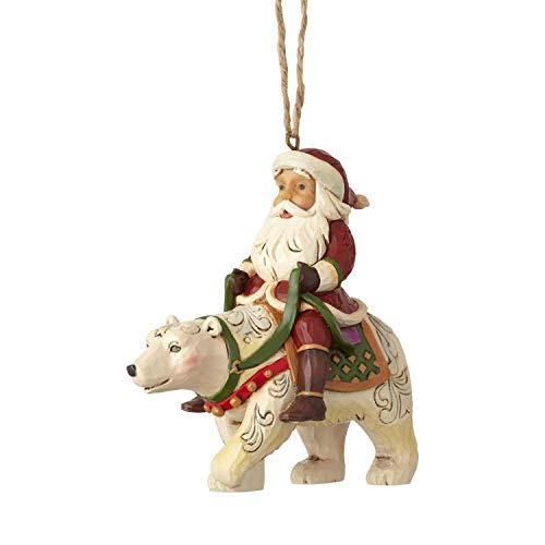 Heartwood Creek Santa Riding Polar Bear Hanging Ornament
