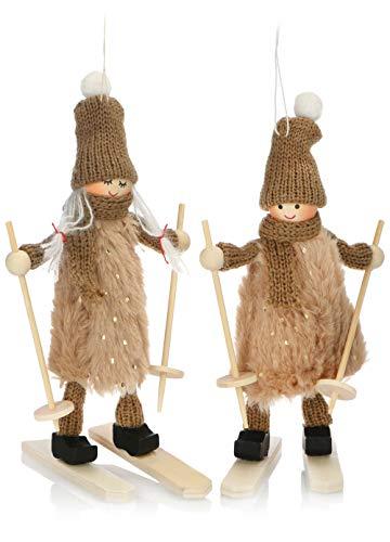 com-four® Premium Weihnachts-Figur für die Weihnachtsdeko, Skifahrer-Figuren als winterlicher...