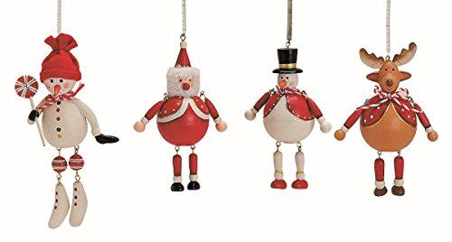 Geschenkestadl 4 Weihnachtsanhänger je 8-12 cm Baumschmuck Schneemann Elch Nikolaus W eihnachten...