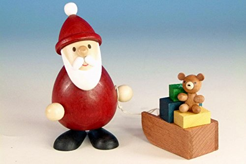 Weihnachtsfigur Weihnachtsmann mit Schlitten farbig , modern 9,3cm und 5,1 cm hoch NEU Holzfigur...