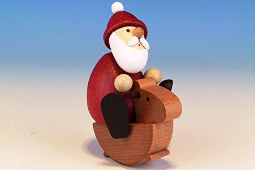 Weihnachtsfigur Weihnachtsmann auf Schaukelpferd farbig, modern, LxBxH: 7,5cmx6,0cmx10,5cm NEU...