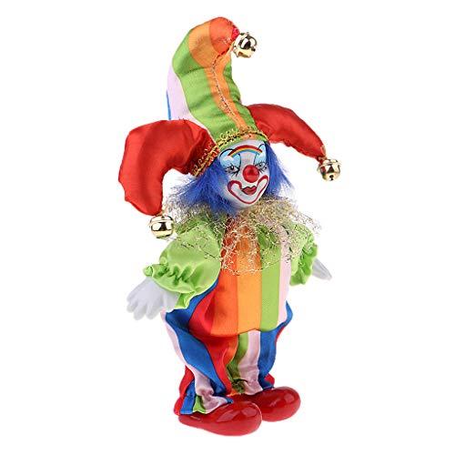 non-brand MagiDeal Lustige Clown Porzellanpuppe im bunten Kostüm Clownpuppe Handwerk Halloween...