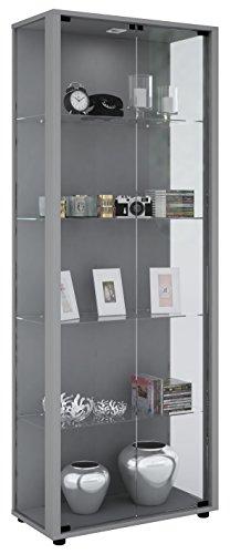 VCM Vitrine Sammelvitrine Standvitrine Glasvitrine Glas Schrank Regal Schaukasten Silber 176 x 67 x...
