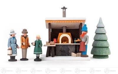 Miniatur Grillstand mit 3 Figuren und 1 Bäumchen (5) Höhe ca 9,5 cm NEU Erzgebirge Weihnachtsfigur...