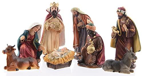 zeitzone Wunderschöne Krippenfiguren Weihnachten Set 8 teilig Handbemalt