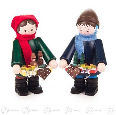 Weihnachtliche Miniatur Striezelkinder klein farbig (2) Höhe ca 6 cm NEU Erzgebirge Weihnachtsfigur...