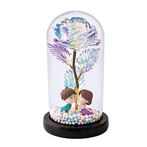 Auelife Schöne und das Biest Rose Kit, künstliche Bunte Goldfolie Rose Blume und LED Fairy...