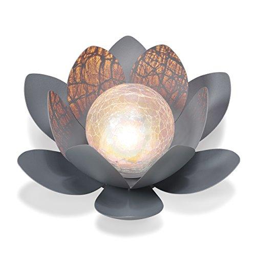 Dekorative Solar Lotusblüte aus Metall mit Glaskugel - angenehm warmweißes Licht - traumhafte...