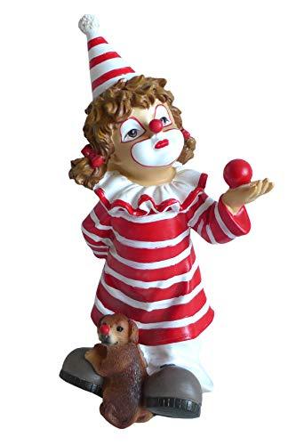 Unbekannt Clown Mädchen rot weiß mit Hund Karneval Köln Zierfigur Figur Clownfigur Dekofigur