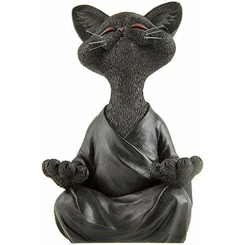 Schwarze Buddha-Katze-Figur, skurriles Meditationskatze-Statue, Zen-Katzenskulptur, Yoga-Katze aus...