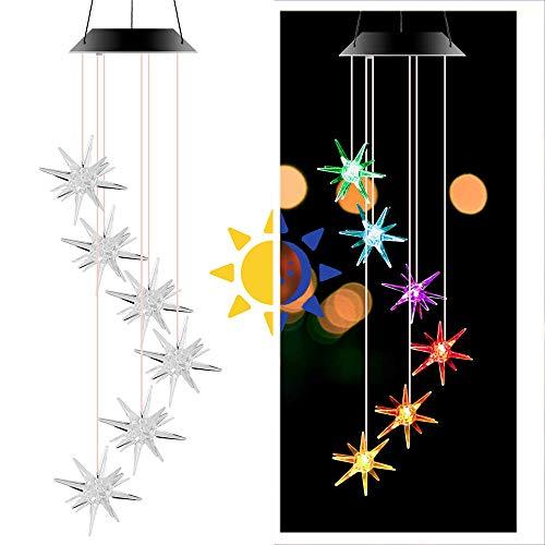CBA BING Windspiele im Freien, Solar Windspiel Seeigel LED leuchtet Farbwechsel,Gartenfigur Ornament