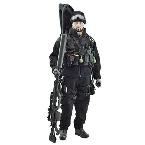 Batop Schwarzer Task Sniper Kostüm Figuren Zubehör für 1/6 Soldat Actionfigur Modell Spielzeug...
