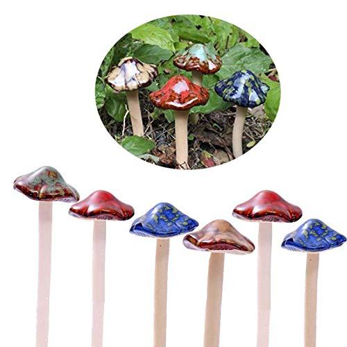 Bunte Gartenpilze, Fairy Garden Pilz Toadstool Keramik [ 4 Farbe 6 Stücke ] Garten Töpfe...