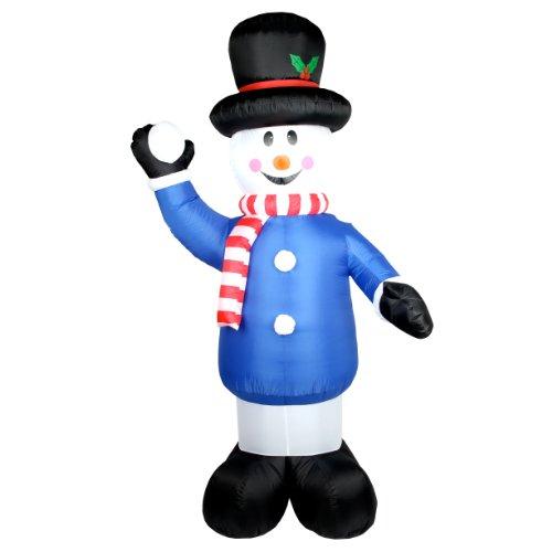 240cm großer Schneemann mit Schneeball selbstaufblasend Airblown große Weihnachtsdeko Ski Deko