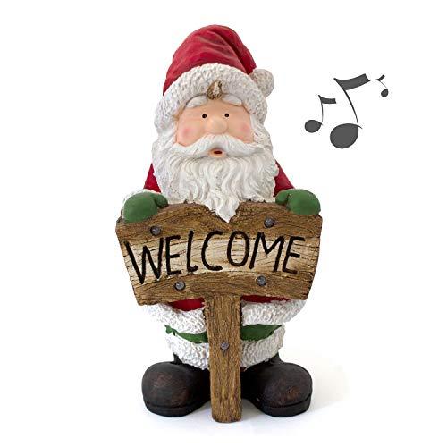 Weihnachtsmann 71x35x30cm mit 'Welcome' Schild inkl. LED Beleuchtung und Jiingle Bells Musik,...