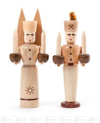 Engel & Bergmann Miniatur Engel und Bergmann, natur Höhe ca 8 cm NEU Erzgebirge Weihnachtsfigur...
