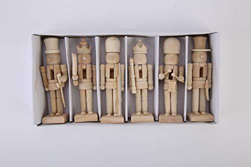 EFINNY Nussknacker Figuren aus Holz unbemalte Puppe DIY Blank Paint Spielzeug für Weihnachtsschmuck...