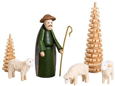 Krippenfiguren bunt – Hirte, Schafe, Spanbäumchen – Weihnachtsfiguren - Holzfiguren – Höhe...