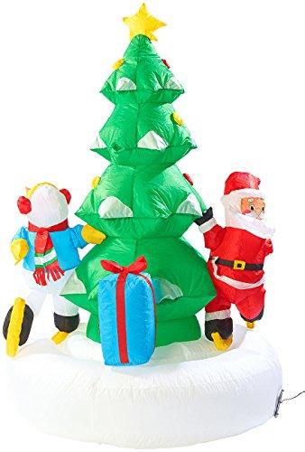 infactory Weihnachtsdeko außen: Selbstaufblasendes XXL Weihnachtsbaum-Karussell, 150 cm...