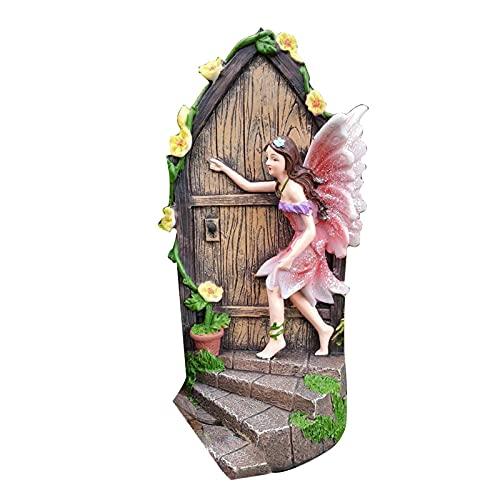 Ukuding Gartendeko Garten Ornament Sitzen Magische Fee, Sitzende Elfen Gartenfiguren,Basteltür...
