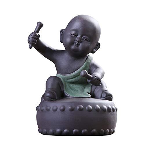 YYMMQQ Kleine Buddha-Statue Keramik Buddha Statuen Ornamente Tee Haustier Tischplatte Mönch...