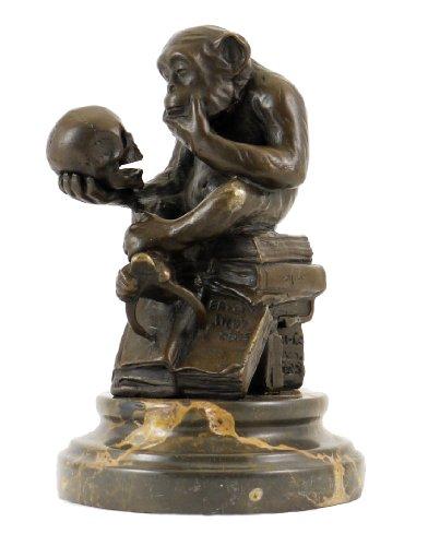 Wolfgang Hugo Rheinhold - Skulptur AFFE mit Schädel in Bronze - signiert Milo - Kunst Kaufen -...