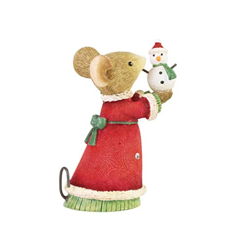 Enesco Tails with Heart Christmas Mouse Holding a Tiny Snowman Figur, Kunstharz, Mehrfarbig, 2.09...