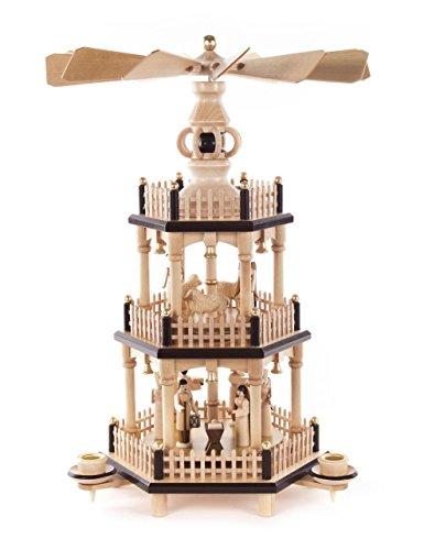 DREGENO Seiffen Pyramide mit Christi Geburt, Holz, Natur, 24 x 24 x 34 cm