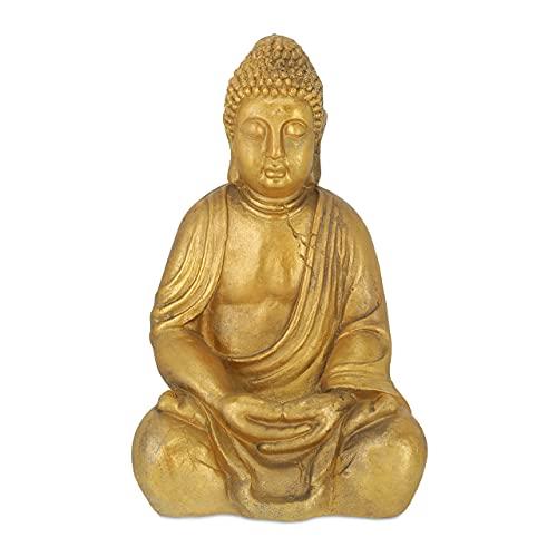 Relaxdays Buddha Figur Garten, wetterfest & frostsicher, Gartenbuddha sitzend, Gartenfigur, HBT:...
