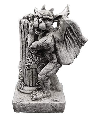 gartendekoparadies.de Massive Steinfigur Gargoyle mit Säule Torwächter aus Steinguss frostfest