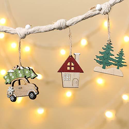 Aitsite Christbaum Schmuck Holz, Hängenden Anhänger für Haus und Feiertag Dekoration, Behang Set...