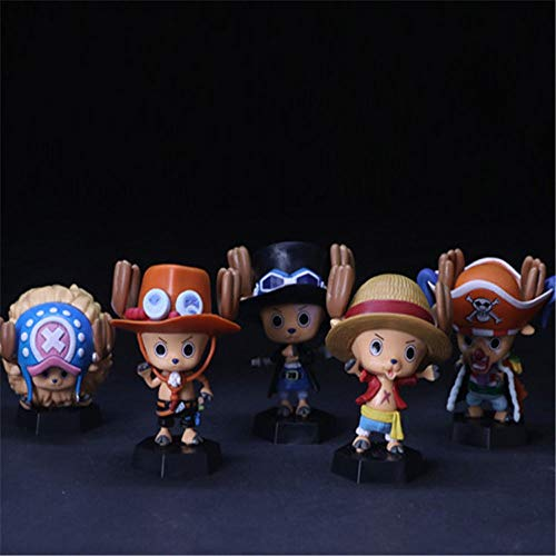 QTRT 5pcs ONE Piece Tony Chopper Cosplay PVC Anime Cartoon Game Character Modell Statue Figur...