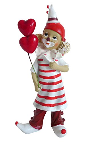 Niedliche Dekofigur ~ Clown rot-weiß mit Partyhut & Ringelhemd ~ Karneval Köln Harlekin Deko Figur