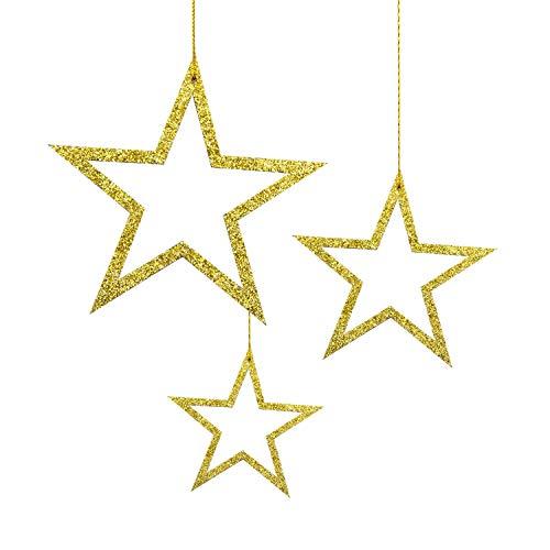 Oblique Unique® 3 Holz Sterne mit Glitzereffekt und Schnur für Weihnachten Weihnachtsbaum...