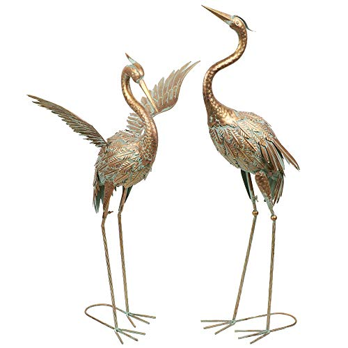 TERESA'S COLLECTIONS Metallvögel Kraniche Gartenfiguren für Teich 2er Set 99/ 85cm große Vogel...