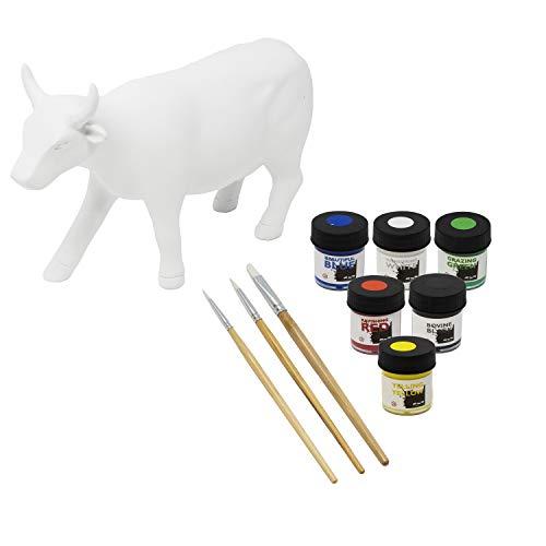 Paint Your Own Cow Kuh Skulptur mit Malset, aus Resin, 16 x 10 cm, Cowparade Kuh