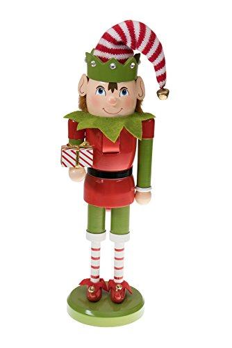 Clever Creations - Nussknacker-Weihnachtself mit Geschenk - perfekt für Jede Sammlung - Festliche...