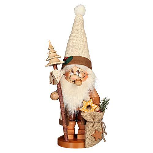 Räuchermännchen Wichtel Weihnachtsmann mit Stab - 39cm - Original Erzgebirge Räuchermann -...