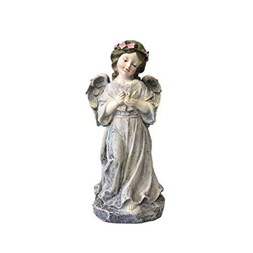 LEILEI Stehender Engel mit Vogelgarten-Statuen,Cherub-Außenstatuettenharz-Bastelornamenten Dekor...