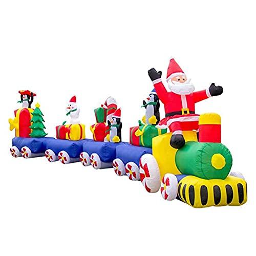 Cakunmik Weihnachtszug Eisenbahn240 cm Weihnachtsdeko XXXL Aufblasbarer Weihnachtsmann Schneemann...