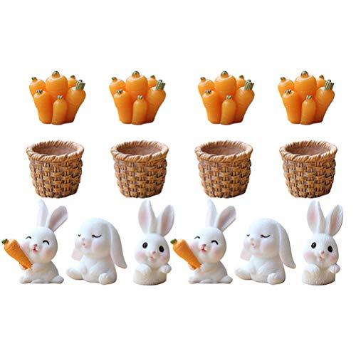 VALICLUD 14 Stücke Kaninchen Figur Mini Hase Skulptur Cupcake Kuchen Topper Miniatur Ornament...
