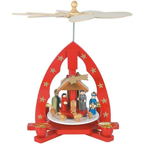 OBC Weihnachtspyramide/Krippenszene mit Heiligen DREI Könige rot/Pyramide Weihnachten/im Erzgebirge...