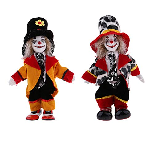 MagiDeal 2 Stück Lustige Stehende Porzellan Puppe mit Clown Kostüm, Ornament für Halloween...