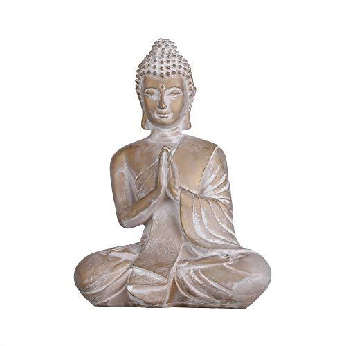 TERESA'S COLLECTIONS Buddha Figur Garten Statue 16cm Harz sitzende Budda Dekofigur Wetterfest und...