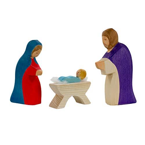 Holzspielwaren Ackermann Heilige Familie (Jesus, Maria, Josef) – Weihnachtsfiguren aus Holz (im...