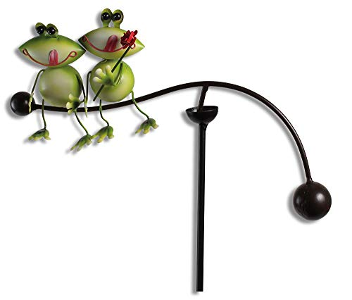 bb10 Schmuck Gartenfigur Windspiel Wippe mit Froschpaar Links aus Metall 90 cm groß Gartenstecker...