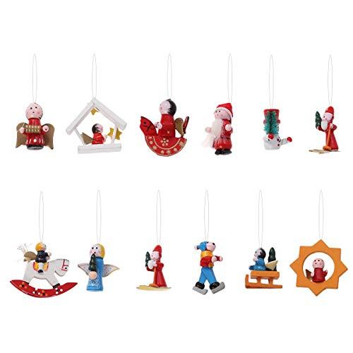 Toyvian Christbaumanhänger Holz Weinachtsmotiv Engel Weihnachtsmann Figur Puppe Weihnachtsbaum...