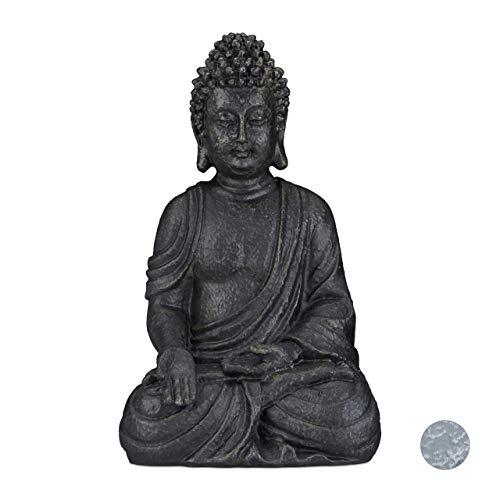 Relaxdays sitzende Buddha Figur, 40 cm hoch, Feng Shui, Outdoor, Garten Dekofigur, große Zen Buddha...